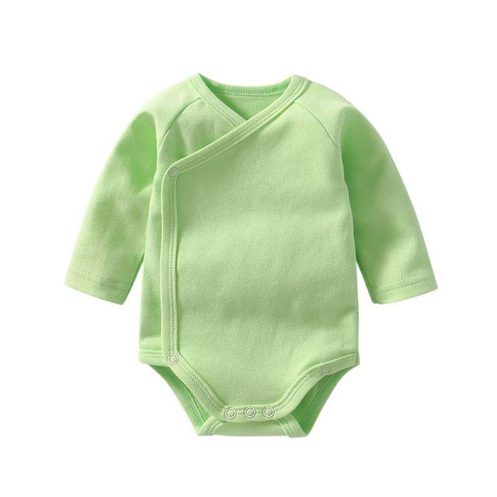 Rd Baby Cotton Long-Sleeve Triangle Romper Stylish Inclined Side Opening Buckle Jumpsuits By Redcolourful.