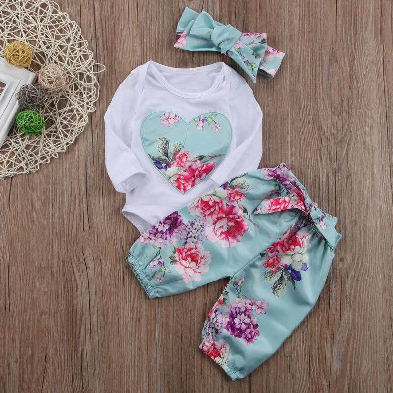 Fashion Bayi Perempuan Baru Lahir Pakaian Set Atasan Bodysuist Motif Bunga Lengan Panjang .
