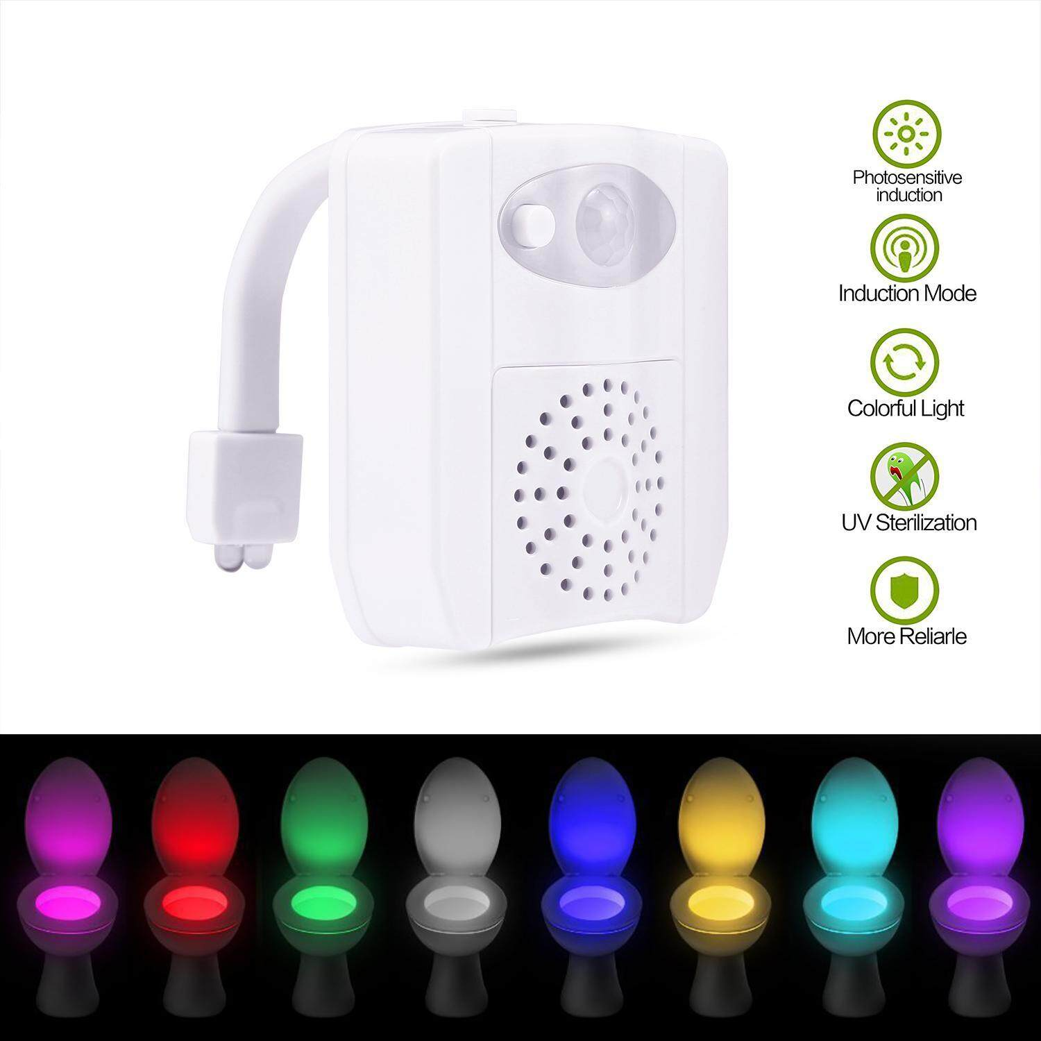 boyun UV Toilet Light, Glow Bowl Toilet Light With Motion Detection Sensor 2pcs Led Toilet Seat Light With 16 Variational Colors Changing For Toilet Closestool. - intl