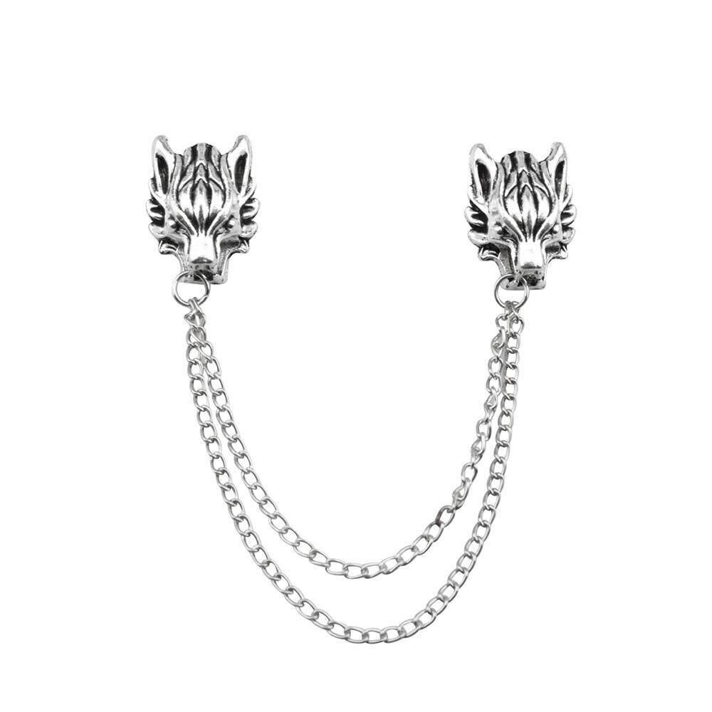 69f8cabdc7e4 hatai Retro Fashion Silver Dragon Brooch Collar Pins Lapel Pin Clothes Suits  Decor - intl