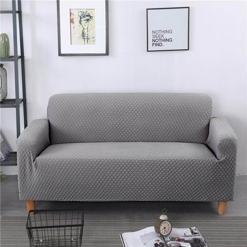 Sheleep Jacquard Fabric - High elasticity - Thicken Plush Sofa Cover Cushion Solid Colour Slipcover(2 Seater)