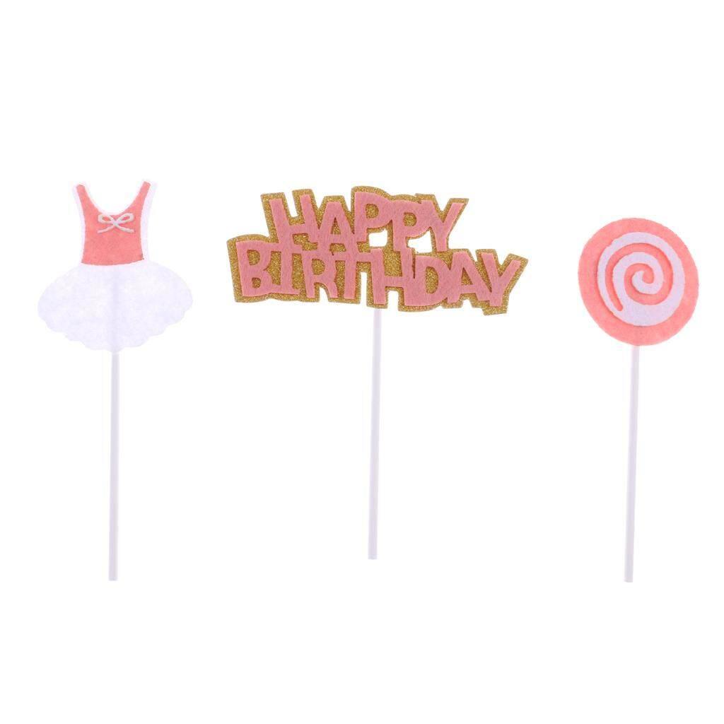 Hình ảnh BolehDeals 3 Pieces Happy Birthday Lollipop Dress Cake Topper Party Cake Decor Pink - intl