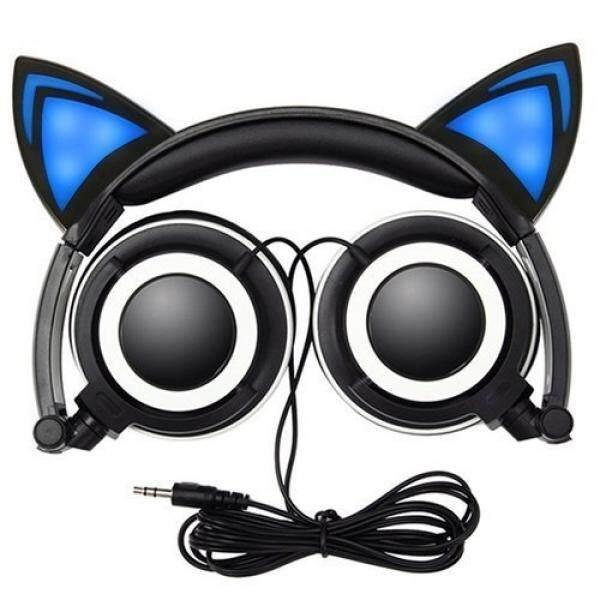 ALH Ilahi Musik 4 U Headphone Anak-anak. kebisingan Membatalkan LED Modis Kucing Telinga Headphone untuk Anak-anak. headphone On-Telinga-Anak Perempuan atau Boys-Universal-3.5mm Steker Stereo Suara Berkualitas Bening Bas Elegan Berseri Lipat-Internasional