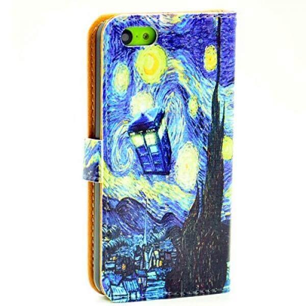 IPhone 5C Dompet Case-Dokter Siapa TARDIS Biru Police Panggilan Kotak Starry Malam Seni Pola Ramping Dompet Kartu Lipat penyangga PU Tas Kulit Case Sarung untuk Apple iPhone 5C-Internasional