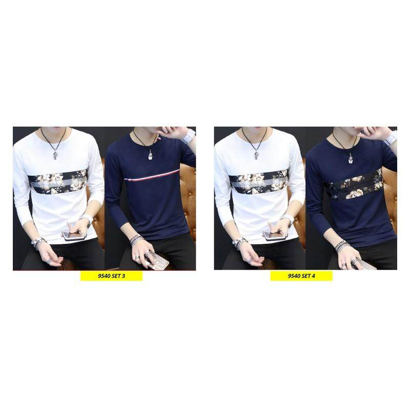 (PRE ORDER 14 DAYS)  Korean Style Men Long Sleeve Shirt Collection 263-9540 Set4 (White and Navy Blue) XL