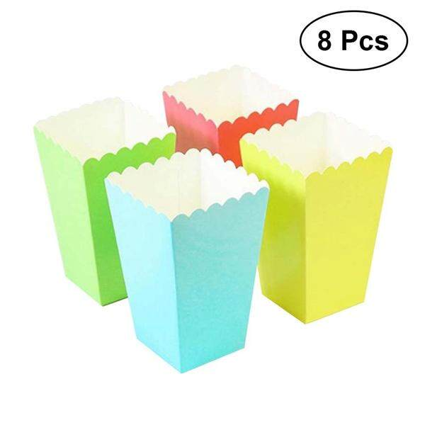 8pcs Popcorn Boxes Holder Containers Cartons Paper Bags Stripe Box for Movie Theater Dessert Tables Wedding Favors (Random Color)