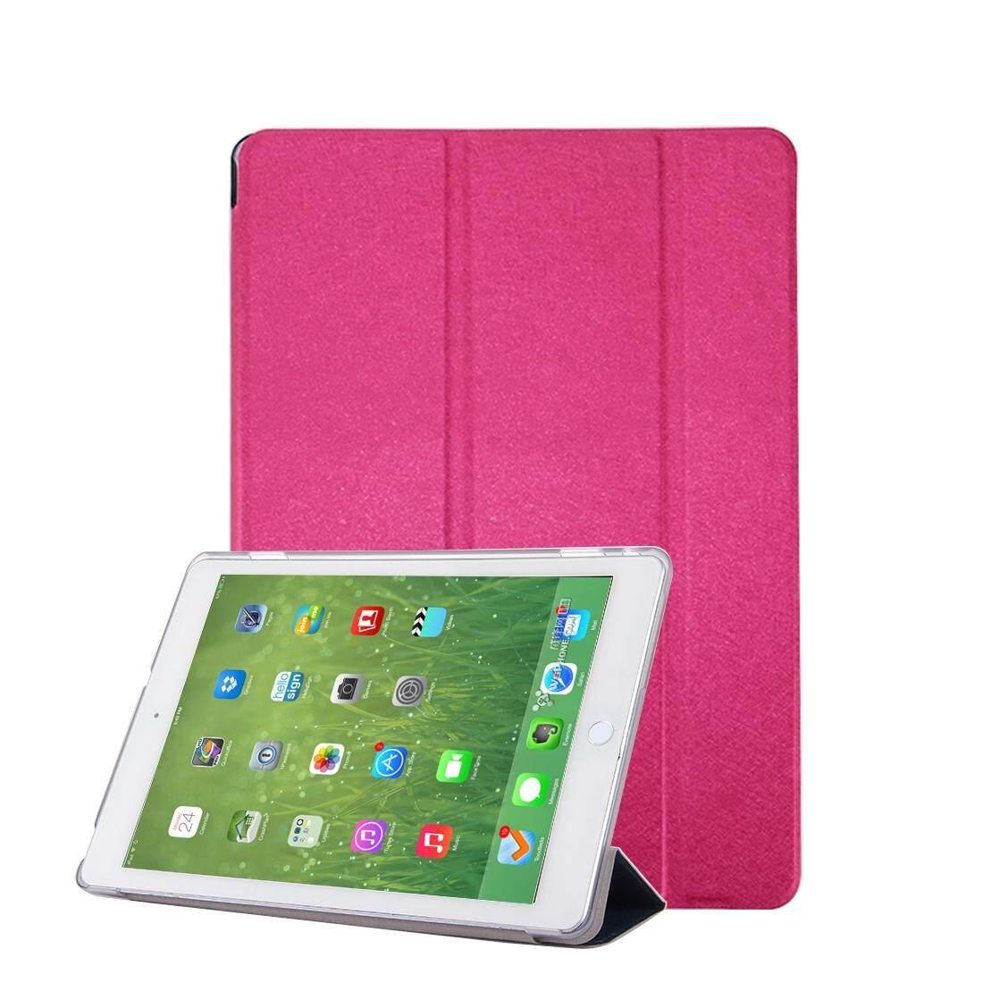 Untuk Huawei MediaPad M3 Lite 10.1 Inch Tekstur Sutra Kulit Horisontal Lipat Case dengan 3-Lipat Penahan & Tidur /Wake-Hingga Fungsi (Magenta) -Internasional