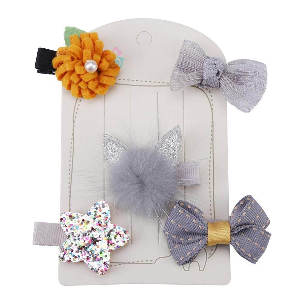 5PCS Children Handmade Hairpins Hair Clips Head Wear Headwear Accessory Grey Cat Ear - intl