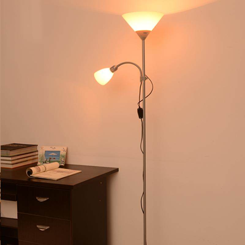 Double Headlights Vertical Living Room Floor Lamp Bedroom Bedside Eye LED Remote Control Simple Floor Lamp - intl