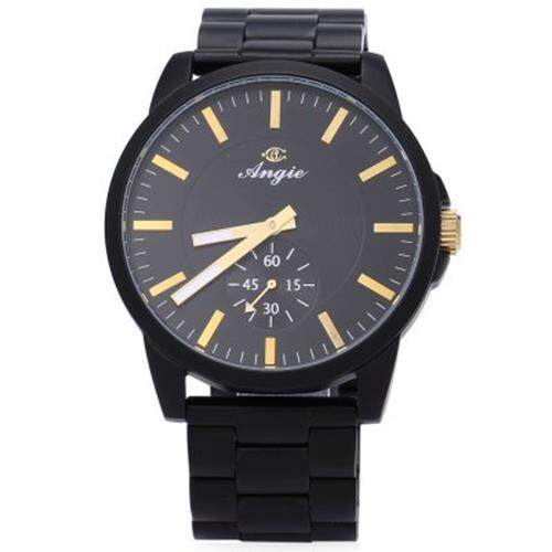 ANGIE ST7159M CITY SERIES MALE QUARTZ WATCH 3ATM SECOND SUB-DIAL STAINLESS STEEL BAND WRISTWATCH (YELLOW AND BLACK)