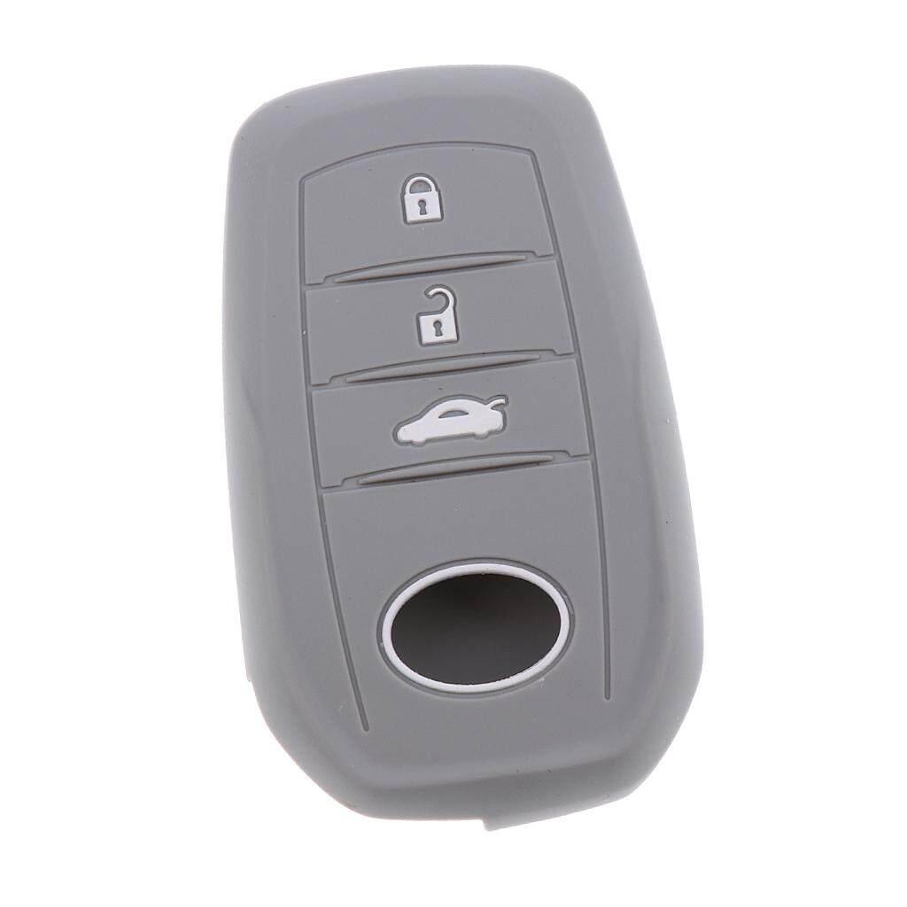 Miracle Bersinar Silikon Kunci Mobil 3 Tombol Kasus Pelindung Sarung To Toyota Mirai Grey-Internasional