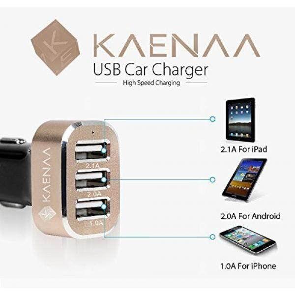 KAENAA™ [Lifetime Warranty] 3 USB Port Car Charger-[Black / Gold] 5.1 A/25.5 W Portable External Travel Charger Car Charger Extended Pack Charger for Samsung Z,Galaxy S5,Prime,S5 Active,S4,S3,Note 4 3, 2;Tab 4 3 2 7.0 8.0 10.1 S 8.4 10.5;Amaz - intl