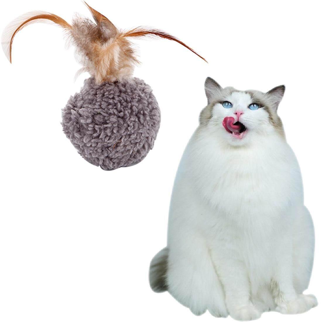 Gambar Produk Rinci Peliharaan Kucing Mainan Mewah Bola Lint Menghibur Mainan Tongkat Interaktif Mengobrol Bulu Mainan