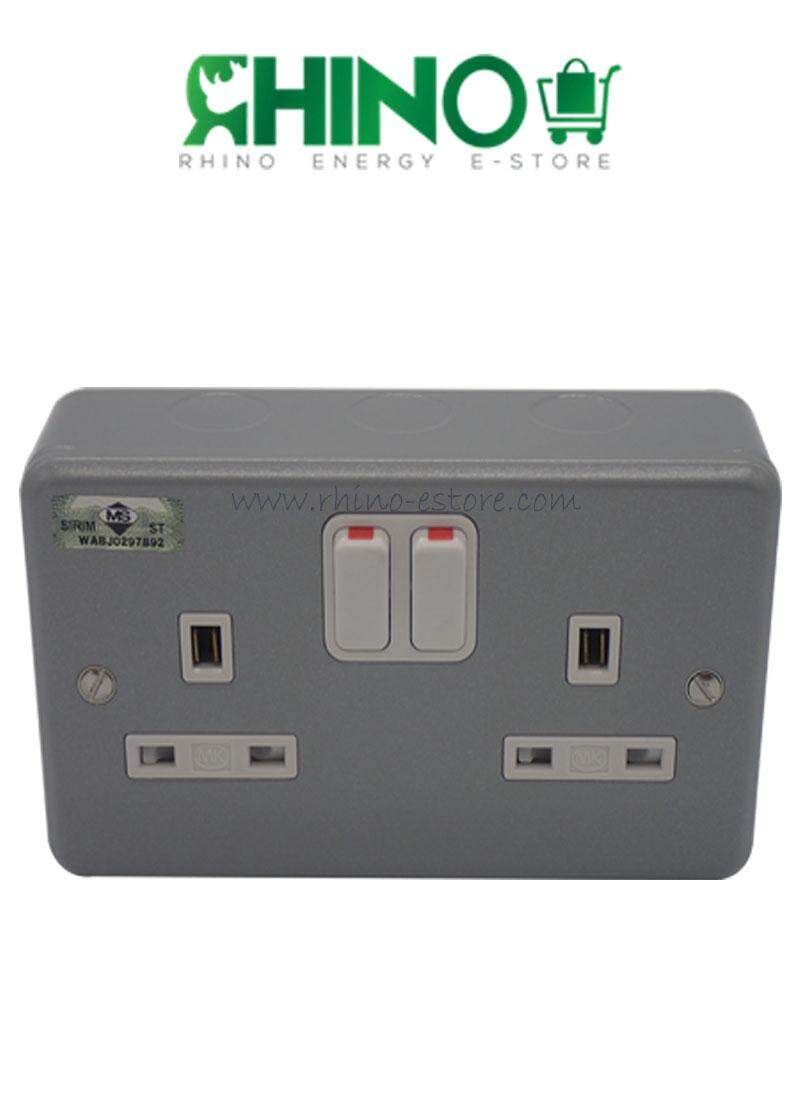 Mk Home Electrical Price In Malaysia Best Lazada Wiring Accessories 2 Gang 13a Metal Clad Switch Socket Outlet Sirim