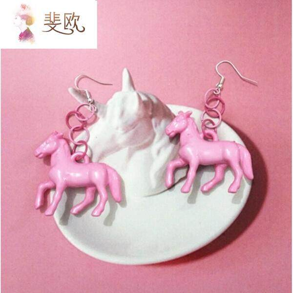 Faw Harajuku temperament wild exaggerated pink pony earrings girls spell color circles cool earrings purple pair(Pink ear clip section ) - intl