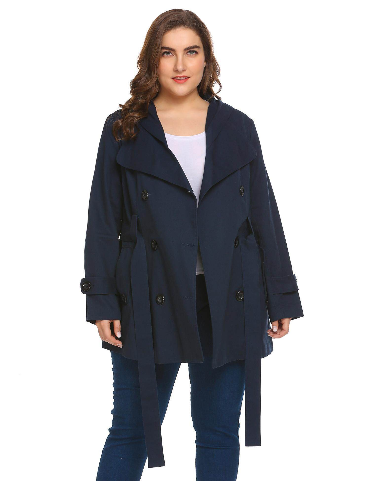52e7eb1f8f9 BEST SELLER Sunwonder Women Hooded Double Breasted Solid Casual Trench Coat  with Belt Plus Size(