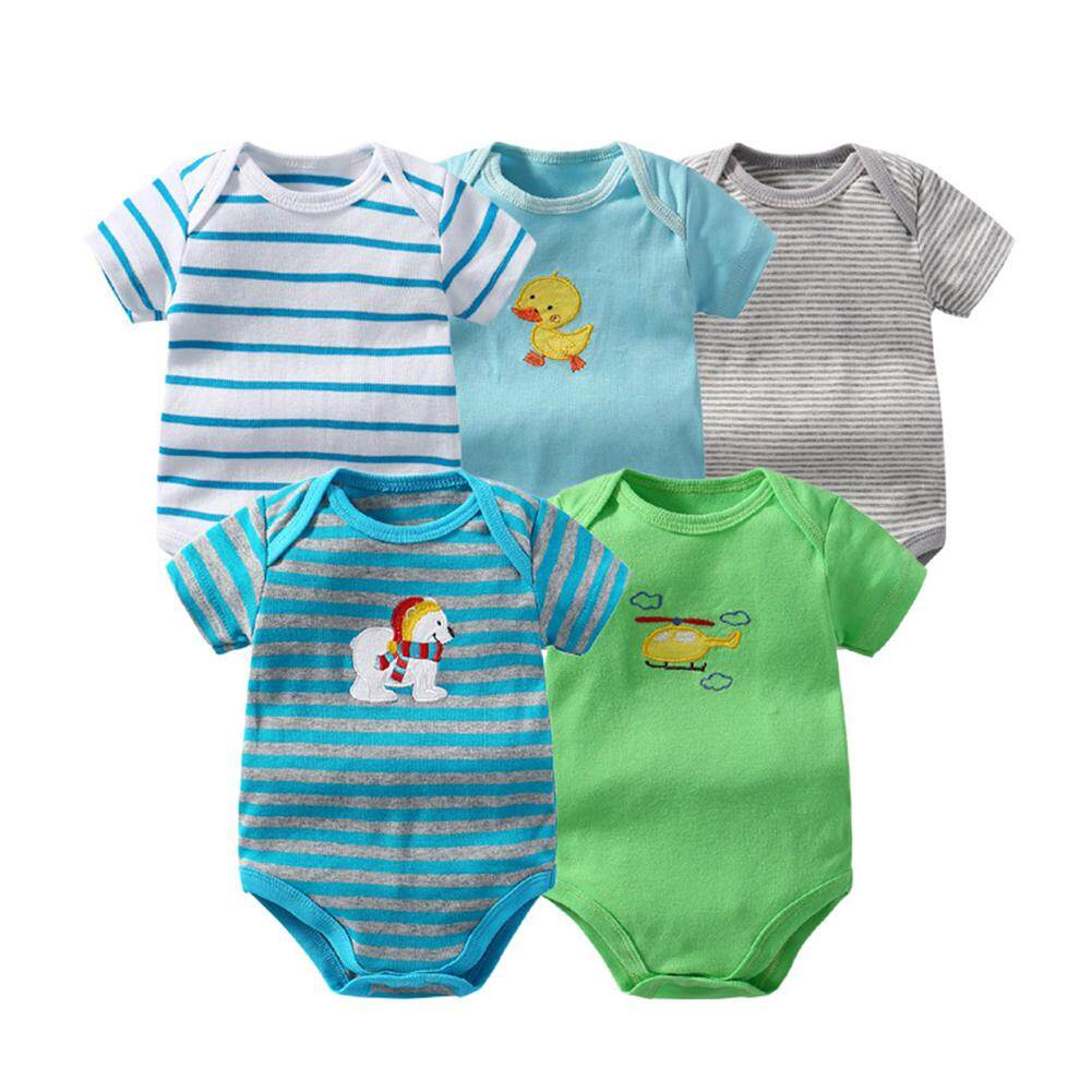 Rd 5pcs/pack Baby Romper Overall Cute Short Sleeve Bodysuit Climb Clothes--Color Random By Redcolourful.
