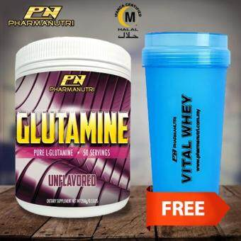 Halal Glutamine by Pharmanutri, Pure L-Glutamine 250g, 50 Servings (Unflavored) + FREE Shaker