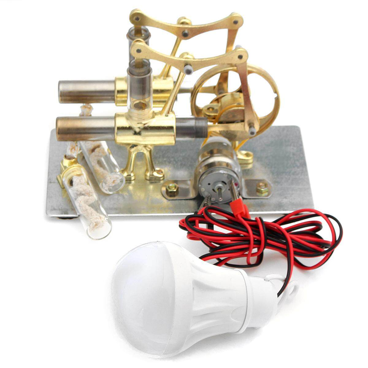 Mini Hot Air Stirling Generator Double Cylinder Engine Model - Intl By Teamtop.
