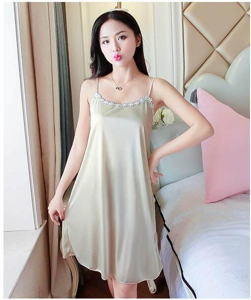 Bolster Store Ladies Women Sexy lingerie Sleepwear Sleeveless Sweet Long Dress Silk Satin Comfortable Night Wear Pajamas