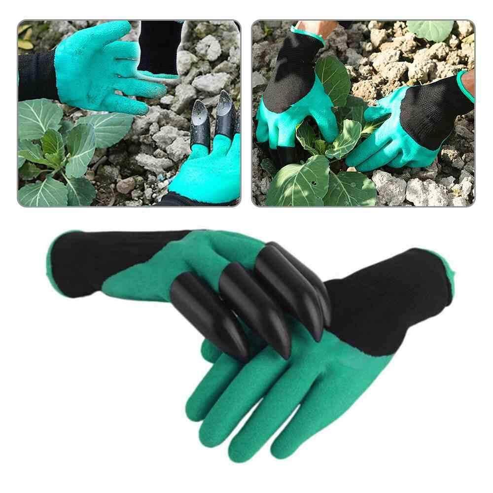 Gardening Genie Gloves Digging 4 Hard Plastic Finger Claws Garden Latex Gloves