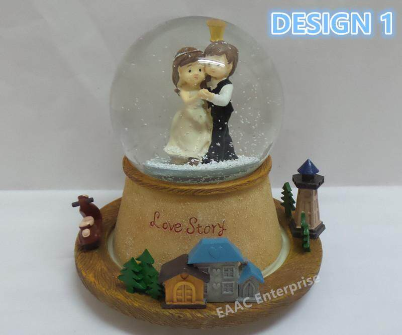 In Love Marriage Couple Snow Ball Spinning Music Box Decoration Gift- Design 1