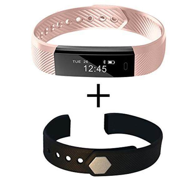 Fitness activity sleep calorie smart bracelet bluetooth Tracker with FREE second color extra wristband for Android & IOS (Pink)