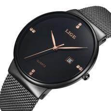 LIGE Top Brand Luxury Mens Watches Fashion Steel Mesh Strap Sport Quartz Watch Men Casual Waterproof