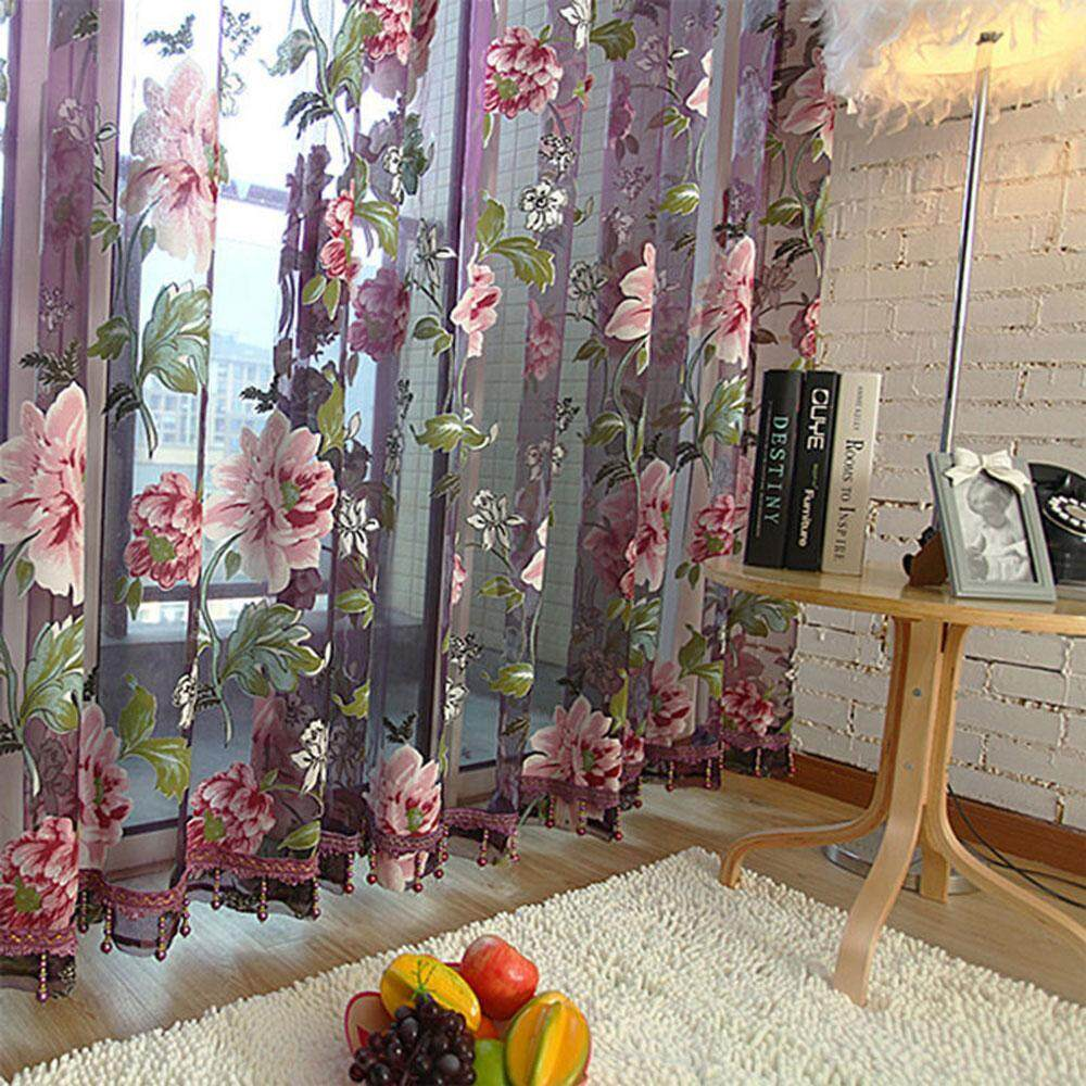 yoggus Flower Curtain Transparent Tulle Curtains Window Screening Treatments Living Room Children Bedroom Yellow Purple Sheer Curtain - intl