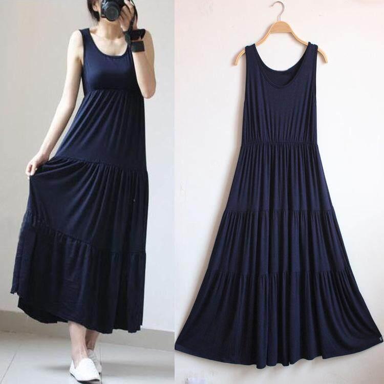 Maternity Fashion Women Cotton Pregnant Loose Dresses Clothes -NAVY BLUE - intl