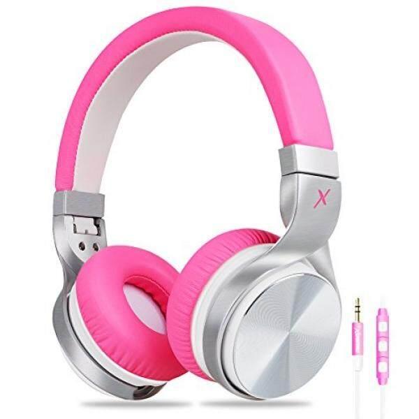 ALH Perempuan Headphone, riwbox IN5 Dilipat Headphone dengan Mikrofon dan Kontrol Volume Stereo Lipat Headset Bas Rendah Yang Kuat untuk Ponsel Pintar iPad Iphone Laptop mp3/4 (Merah Muda Putih) -Internasional