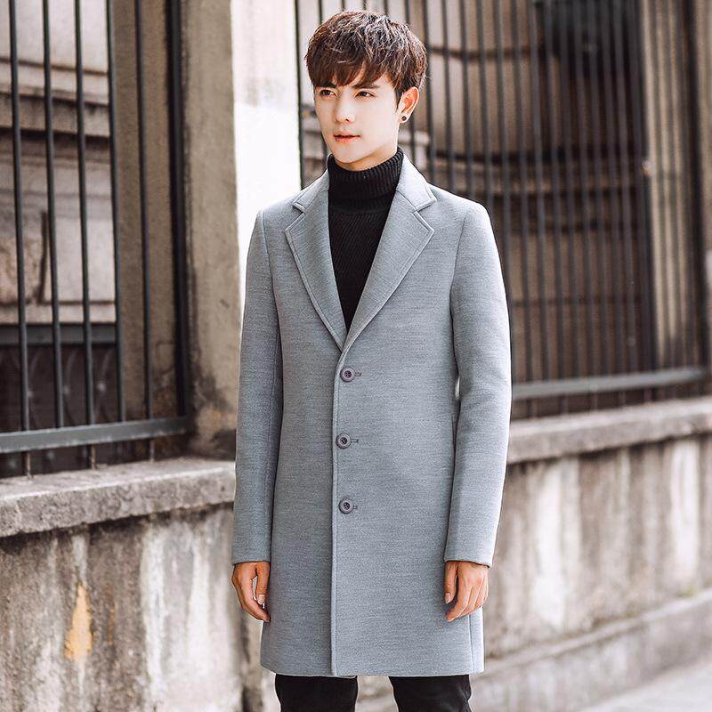 Mens Korean Slim Fit Trench Coat Winter Long Jacket Overcoat