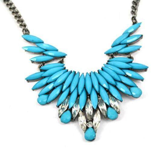 RHINESTONE DETACHABLE COLLAR CHIC NECKLACE FOR WOMEN (BLUE)