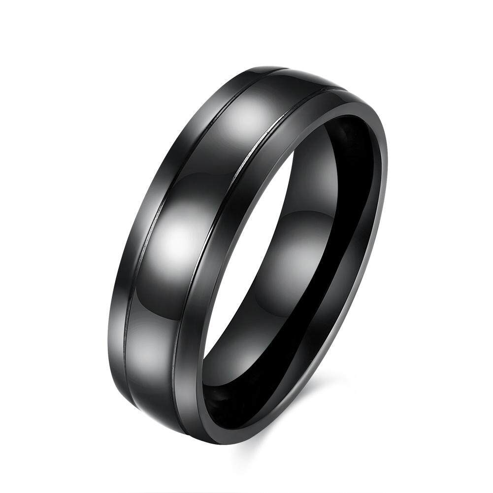 Kemstone Fashion Black Mens Tungsten Band Rings Titanium Steel Finger Ring By Kemstone Jewelry.