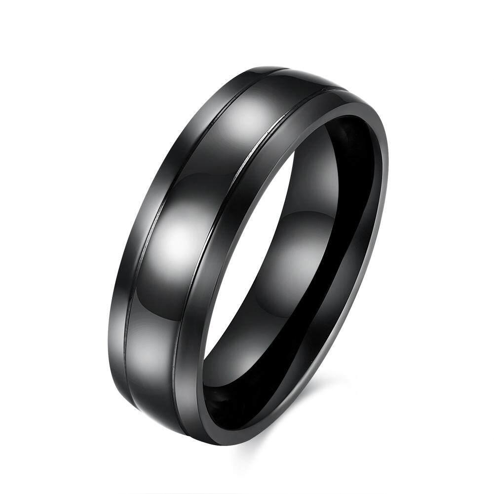Kemstone Fashion Black Mens Tungsten Band Rings Titanium Steel Finger Ring By Kemstone Jewelry.