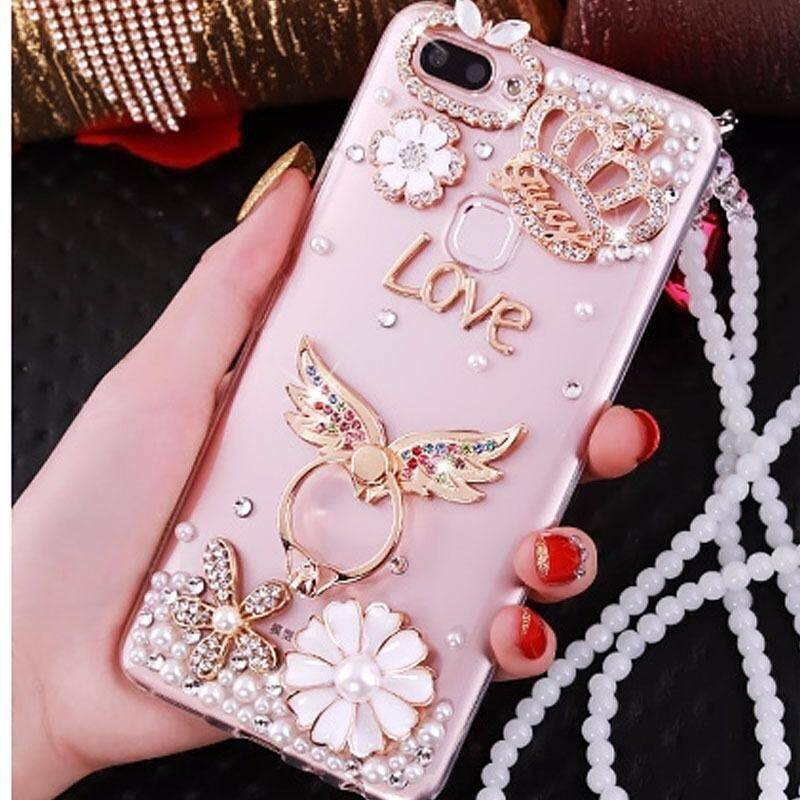 Rhinestone Case For OPPO F5 Case Flower Bling Diamond Clear Soft TPU Back Cover For OPPO F5 Silicon Phone Cases For OPPO A73 a 73 + Pearl Chain - intl