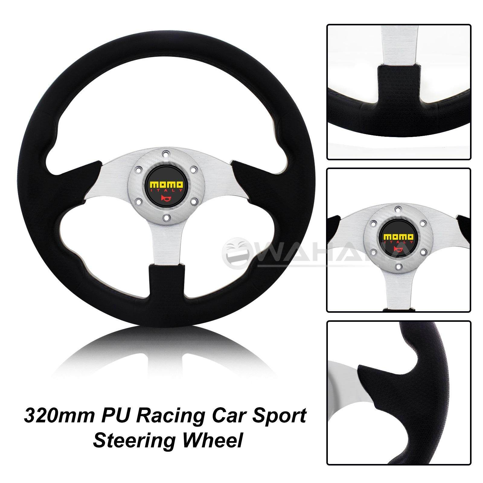 RACER II SILVER 320mm SPORT STEERING WHEEL WITH HORN BUTTON
