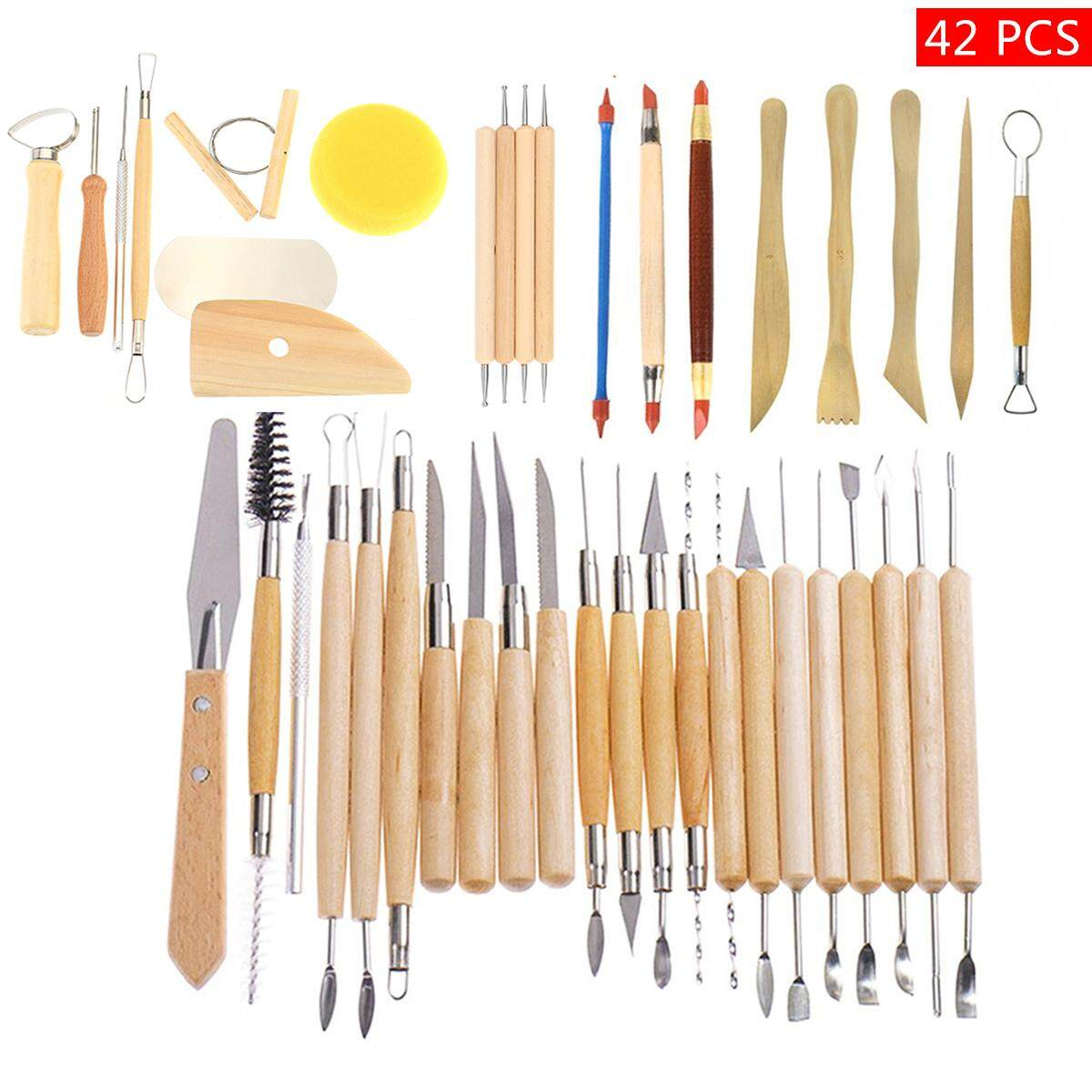 Mua 42Pcs Wooden Clay Sculpting Tools Pottery Carving Tool Set Modeling Craft Hobby - intl