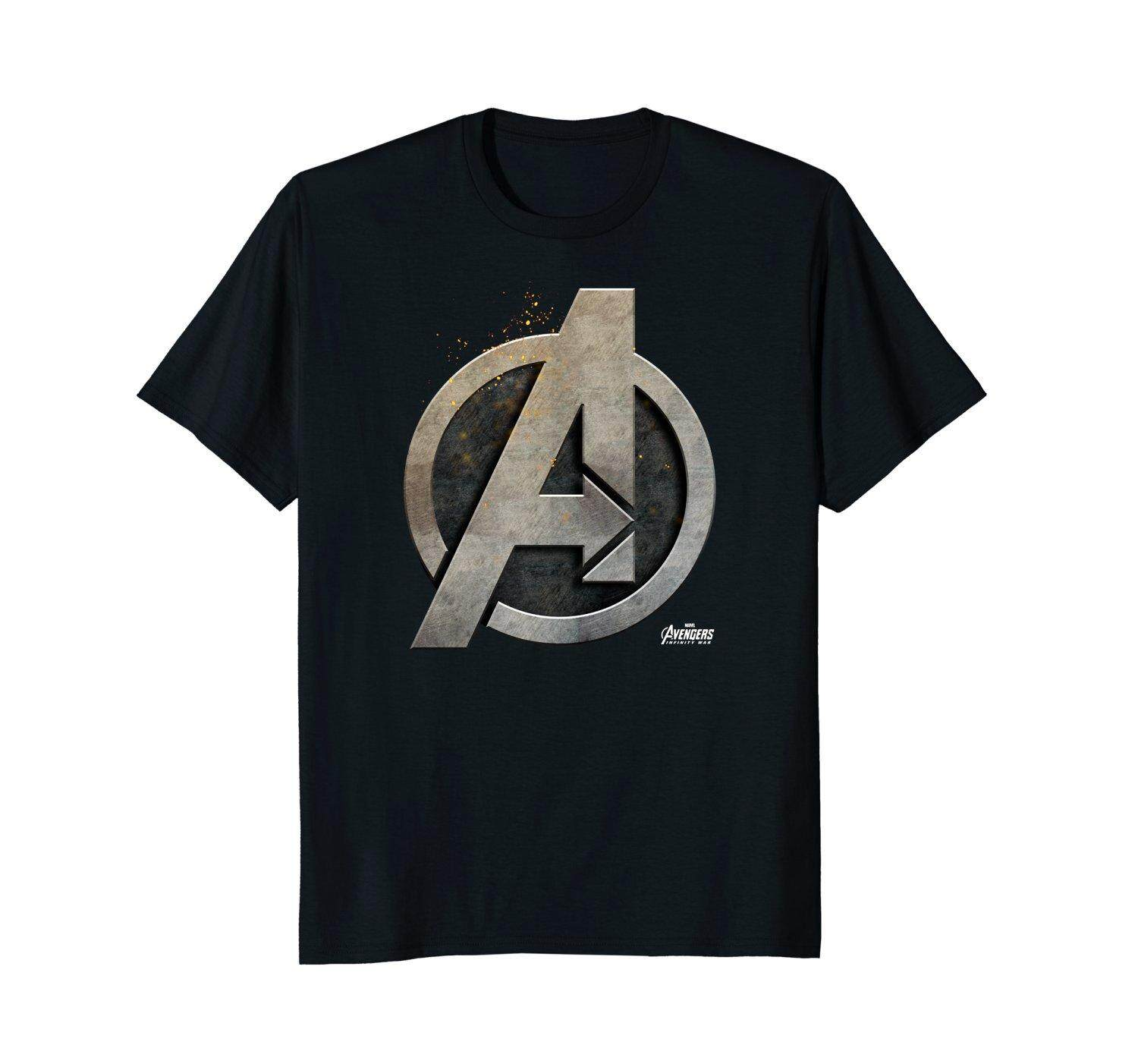 Marvel Avengers Infinity War Steel Symbol Graphic New Round Neck Mens T Shirts Tee Black