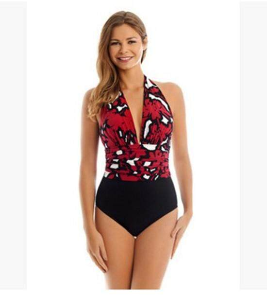bf8aa9ec13f71 Two Pieces Swimsuit 2018 New Plus Size Swimwear Print Bodysuit Vintage  Retro Bathing Suits Swimming Suit