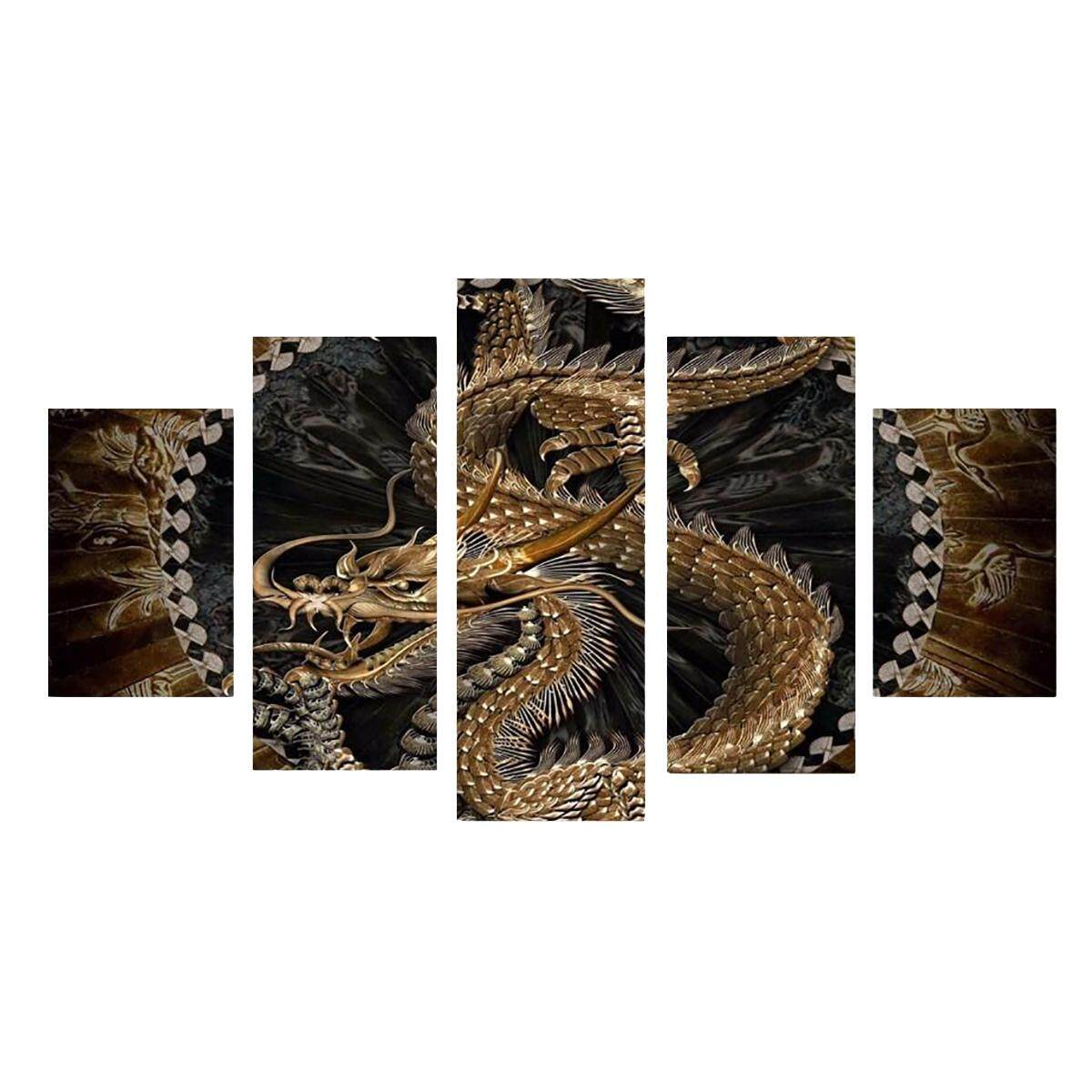 5 Pcs Animal Naga HD Kanvas Cetak Lukisan Gambar Rumah Dinding Dekor Unframed-Internasional