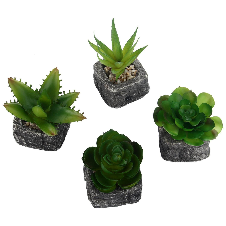 OUYAWEI Set Of 4 Green Artificial Faux Mini Succulent Plants Pebble Sand Potted Plants Stone Planter Pot