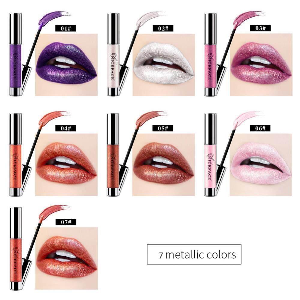 ... NICEFACE 7 Warna Metalik Bibir Gloss Logam Liquid Lipstik Anti-Air Warna Tidak Mengkilap Lipstik