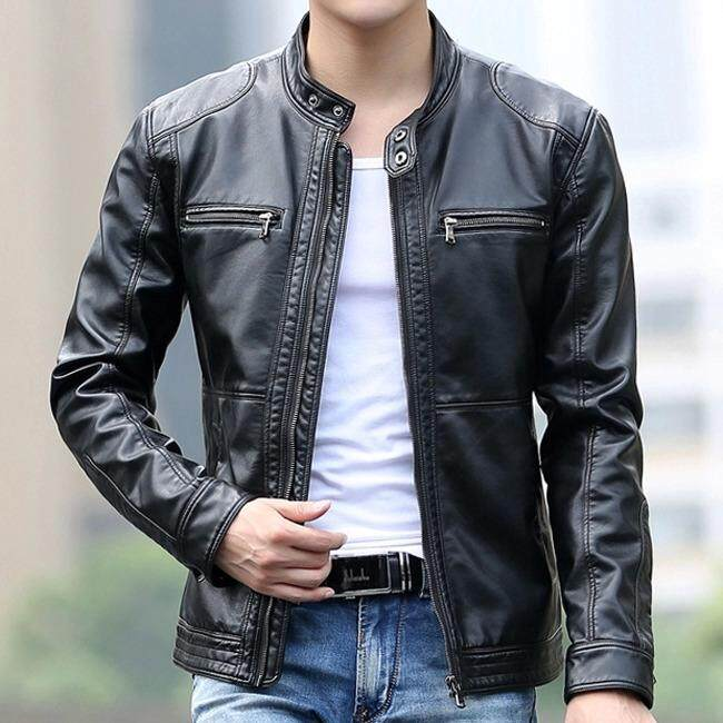 fc692d175 5XL Men's Leather Jackets Men Stand Collar Coats Male Casual Motorcycle  Leather Jacket
