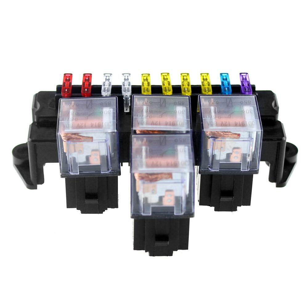 Features 10 Way Fuse Box 5 Pin Socket Base Relay Holder Block Universal With 13pcs Standard