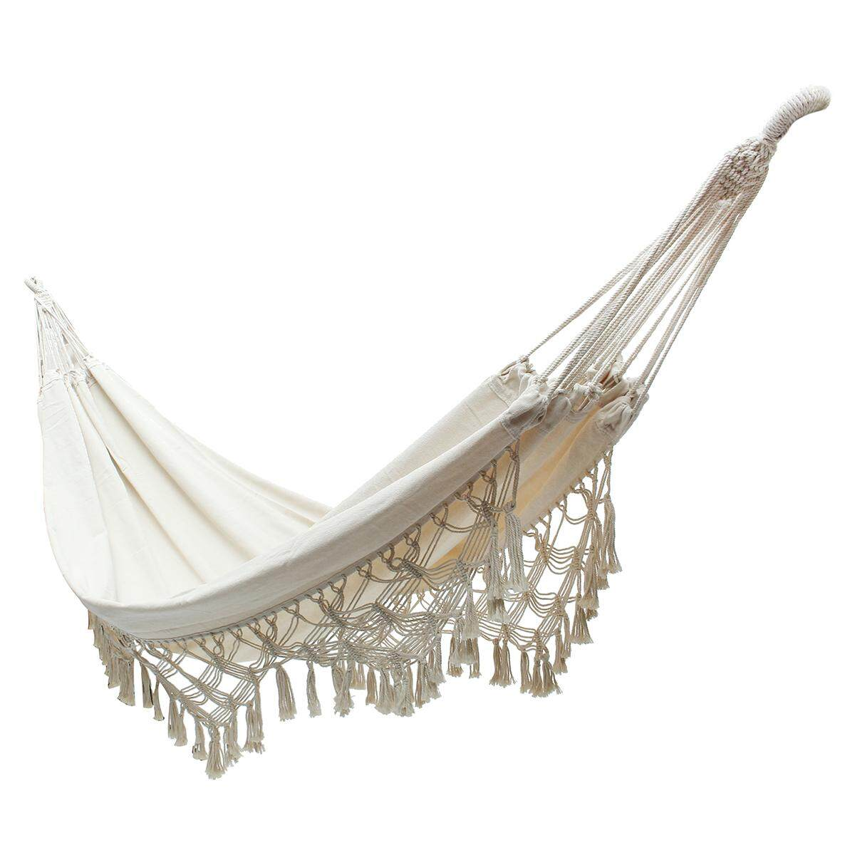 New Large Double Cotton Hanging Chair Hammock Fringe Swing Beach Yard Home 240cm By Glimmer.