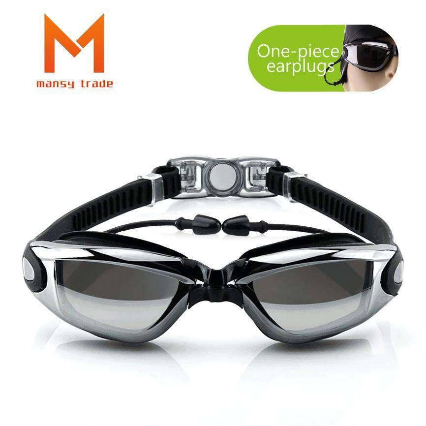 Jual Panas-Modis Pelapisan Datar Kacamata Myopia Renang Kacamata Olahraga Kotak Besar HD Anti-Air Anti-kabut Kacamata Olahraga Satu kepingan Telinga Plugs-Internasional