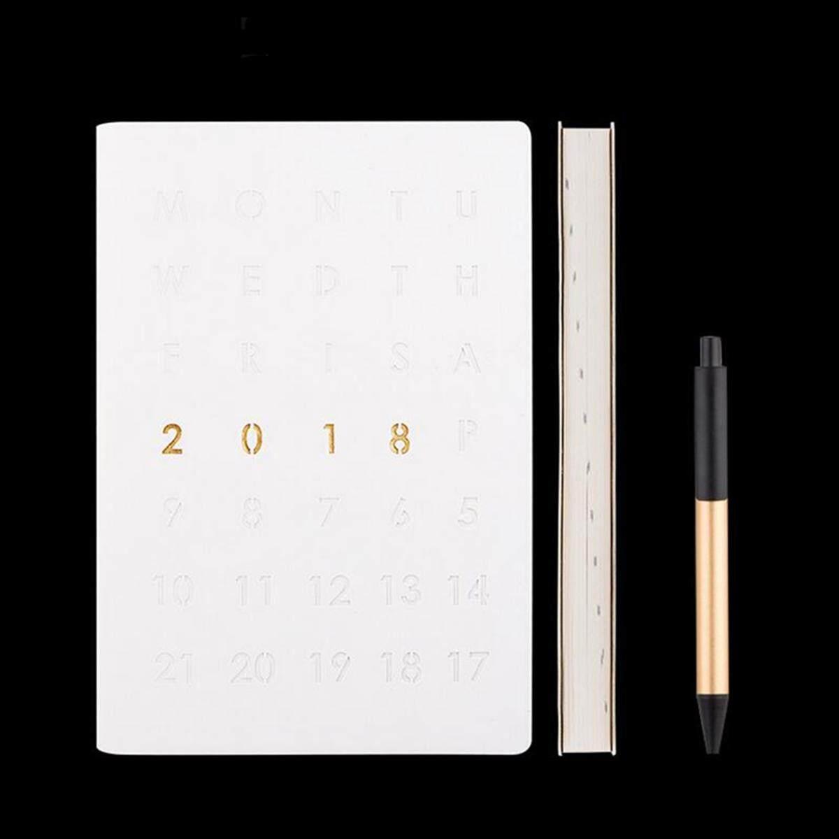 2018 สัปดาห์เพื่อดูหรือวันหน้าไดอารี่ Planner ใน Slimline, Quarto A5 หรือ A4  สีขาว - นานาชาติ.