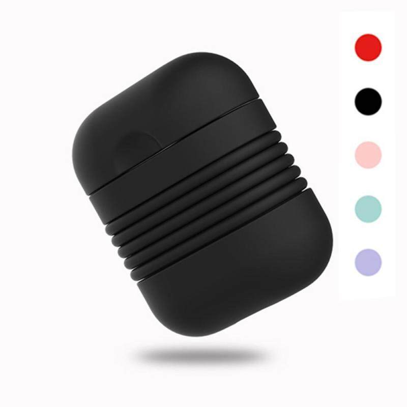 niceEshop For AirPods Charging Case,Silicone Waterproof Protective Cover AirPods Case Cover Shockproof Dustproof Soft Skin Sports Design With Lanyard - intl Singapore