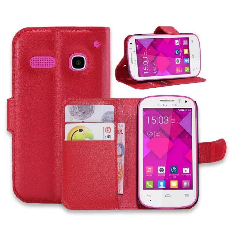 Leather Flip Cover Wallet Card Holder Case For Alcatel POP C3 / OT4033 - intl